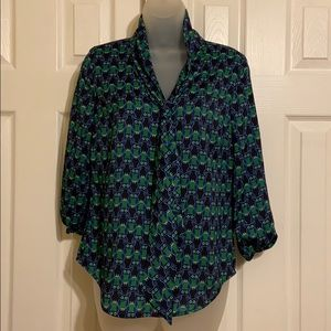Cynthia Rowley blue and green owl blouse Small
